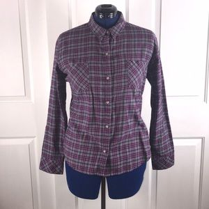 Riders by Lee XL grey/purple plaid flannel shirt